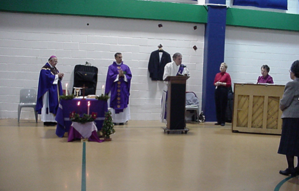 Deacon Tom Bello & Bishop Paul Loverde at the Alexandria Detention Center.