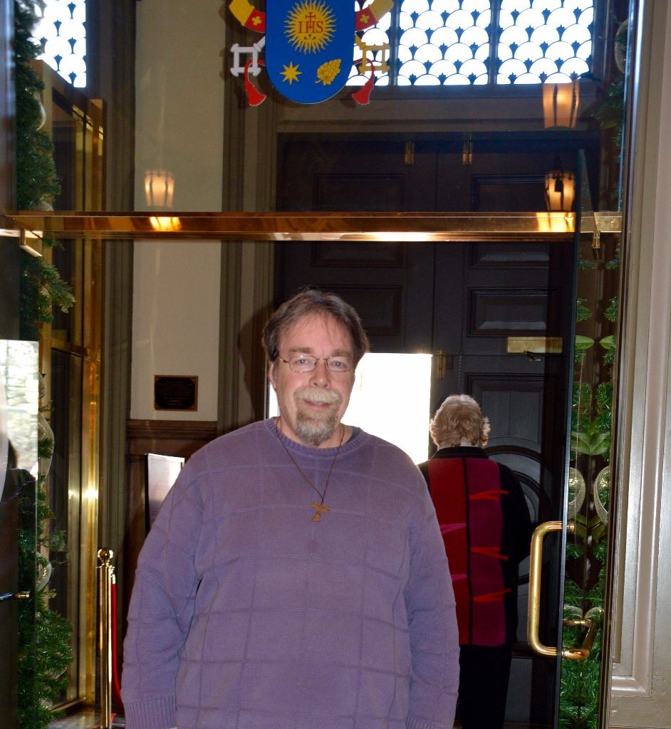 John Clem, O.F.S. at the Door of Mercy at the Cathedral of the Sacred Heart.