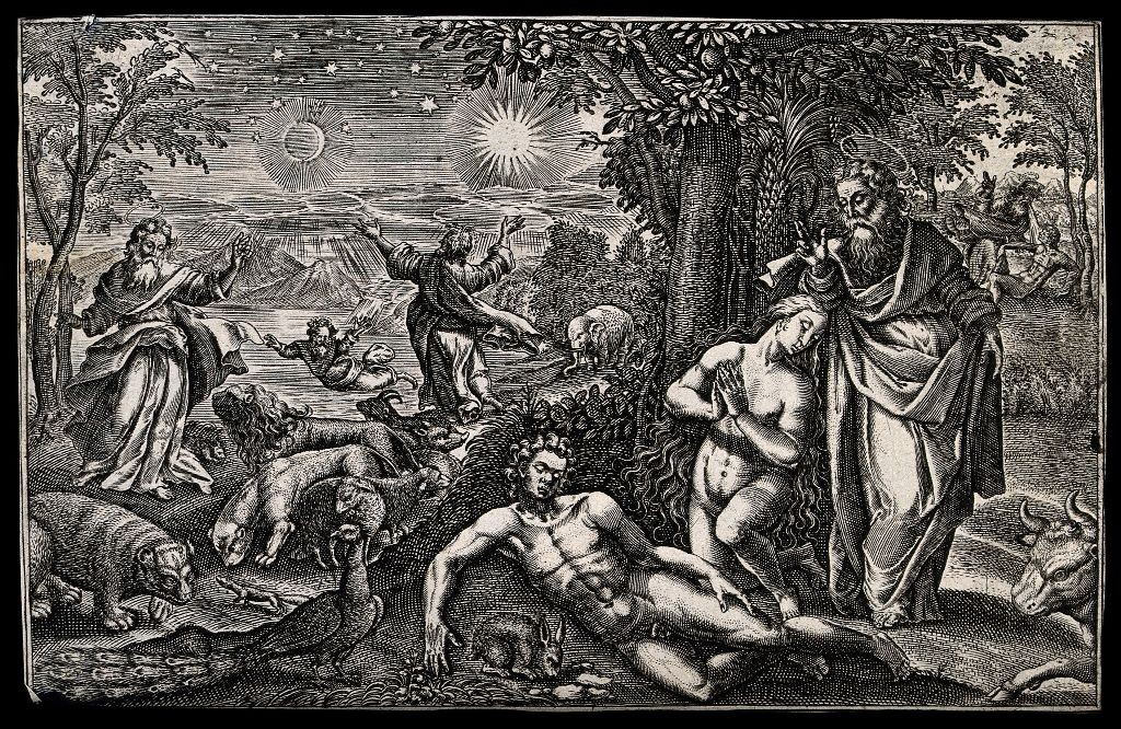 God enjoys the Creation and creates Eve. Line engraving. Credit: Wellcome Library, London. Wellcome Images images@wellcome.ac.uk http://wellcomeimages.org God enjoys the Creation and creates Eve. Line engraving. Published:  - Copyrighted work available under Creative Commons