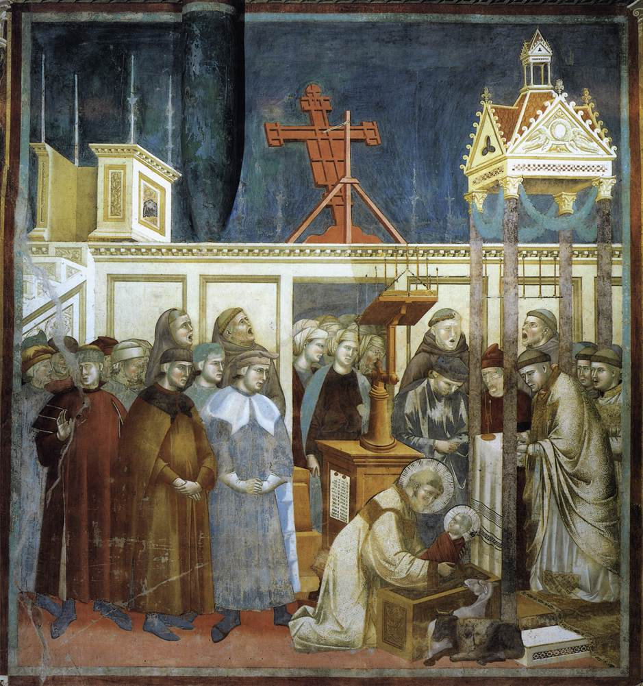 Giotto's - St. Francis of Assisi preparing the Christmas crib at Greccio
