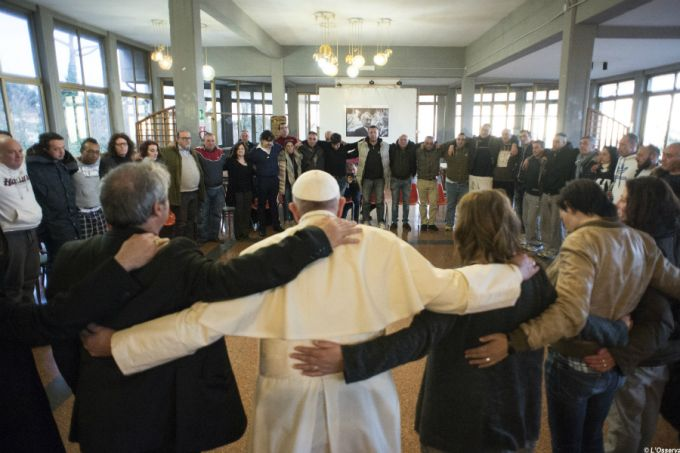 Pope Francis prays with patients at drug rehabilitation facility on his Mercy Fridays