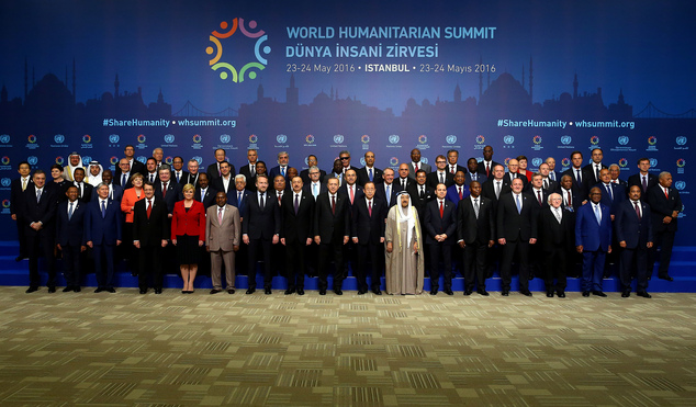 A group of world leaders and representatives pose for a photograph at the World Humanitarian Summit, in Istanbul, Monday, May 23, 2016. World leaders and representatives of humanitarian organisations from across the globe converge in Istanbul on May 23-24, 2016 for the first World Humanitarian Summit, focused on how to reform a system many judge broken.(Yasmin Bulbul, Anadolu Agency, Pool via AP