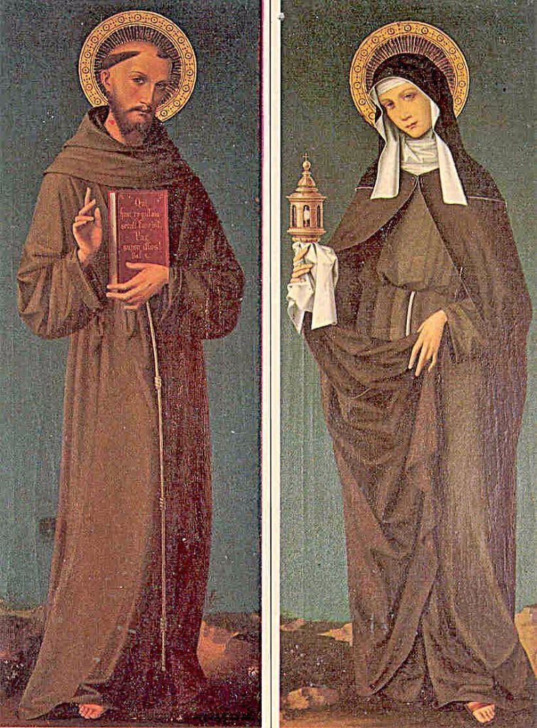St. Francis and St. Clare had great devotion to the Holy Eucharist, St. Clare is pictured often with a monstrance, as the Poor Clares have 24-Hour Adoration and intense prayer life as their vocation.  More about the story of St. Clare and the monstrance in link below).