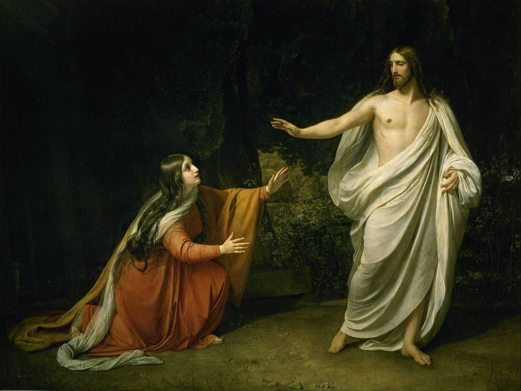 "St. Mary Magdalene with the Risen Christ. St. Mary Magdalene is known as the ""Apostle to the Apostles"" and is the patron saint of penitents."