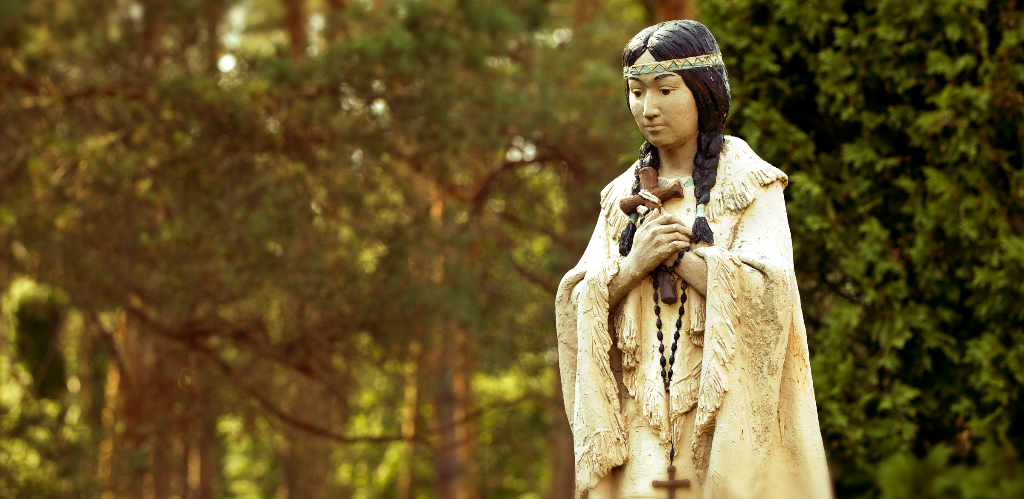 St. Kateri Tekakwitha (1656-1680) patroness of ecology, Native Americans, Canada, and first Native American saint.