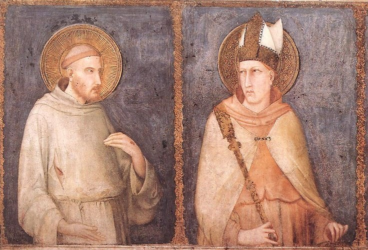 Fresco of St Francis (left) and St. Louis in the lower basilica of San Francesco in Assisi (Simone Martini, c. 1317)