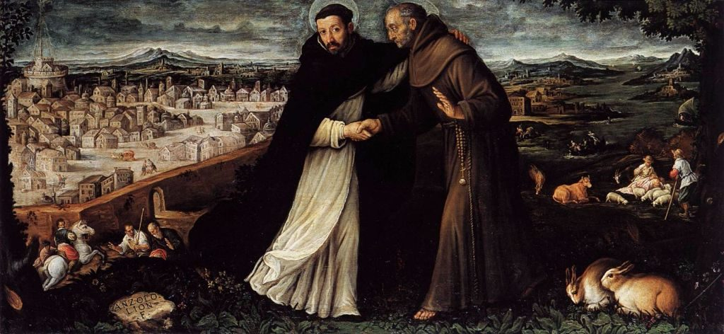 St. Dominic and St. Francis meet each other.
