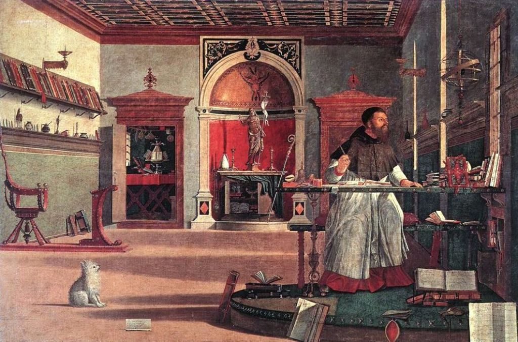 St. Augustine of Hippo (354-430) patron saint of printers (St. Augustine in His Study by Vittore Carpaccio, 1502)