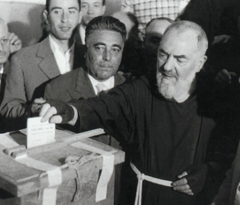 Padre Pio casting his ballot