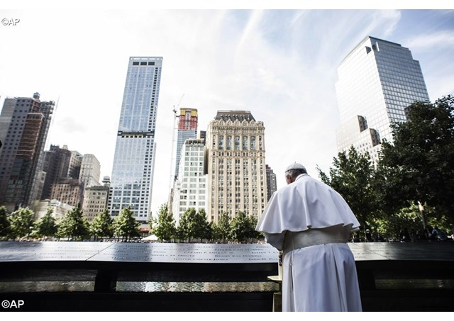 Pope Francis praying at Ground Zero in New York City (AP)