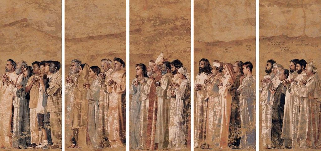 Communion of Saints tapestries at the Cathedral of Our Lady of the Angels