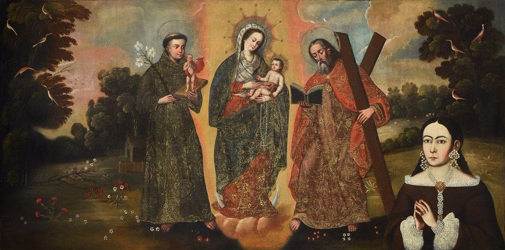 "Unidentified Artist. ""Our Lady of the Rosary of Chiquinquirá with Female Donor,"" late-seventeeth/early-eighteenth century."