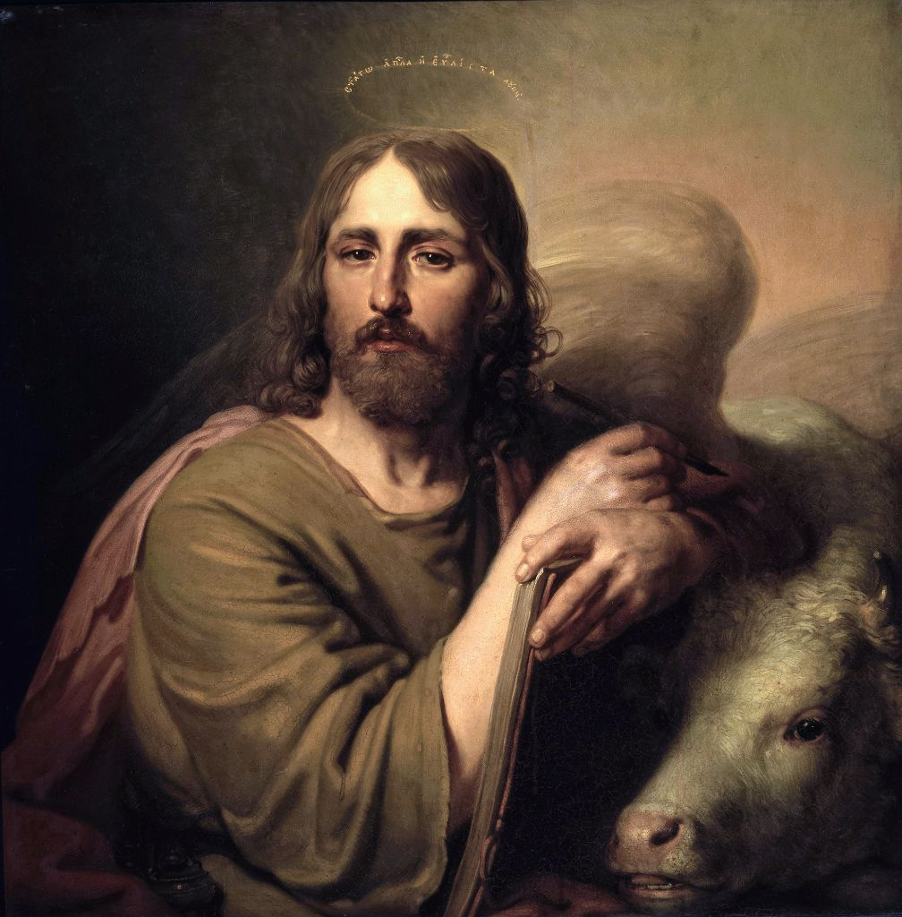 Saint Luke the Evangelist, patron saint of artists, doctors, and notaries. Author of Gospel and Acts of the Apostles.