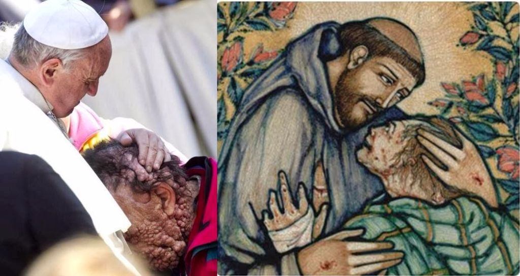 Pope Francis and a pilgrim, and St. Francis of Assisi and the leper.