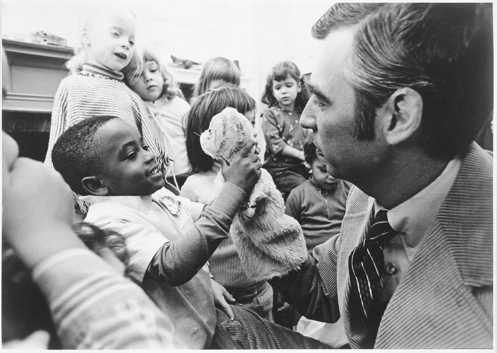 Mister Fred Rogers (1928-2003) greeting a child
