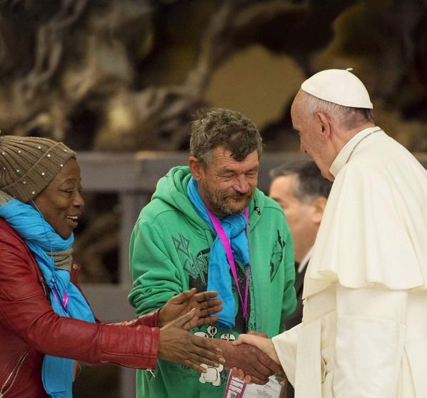 Pope greeting invited guests at the Jubilee for Excluded Persons. Copyright L'Osservatore Romano